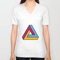 70s V-neck T-shirts featuring 70s Abstract Penrose by Makar Deku