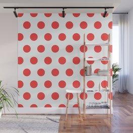 red polka dots Wall Mural