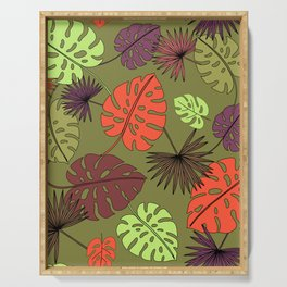 Tropical Leaves Seamless Print Serving Tray