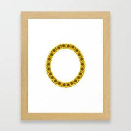 Isolated sunflower alphabet O Framed Art Print