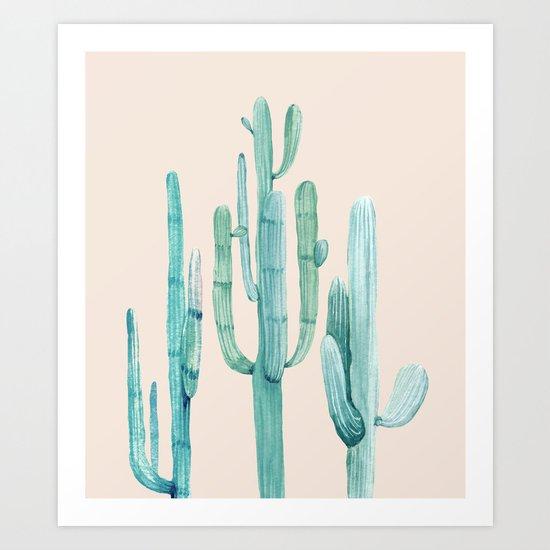 Three Amigos Turquoise + Coral Art Print