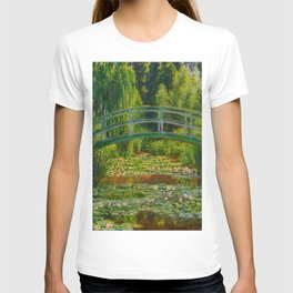 Claude Monet Impressionist Landscape Oil Painting-The Japanese Footbridge and the Water Lily Pool T-shirt