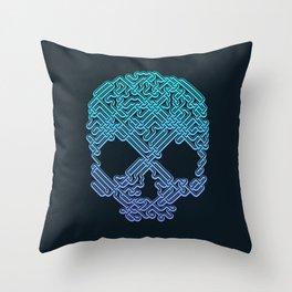 Labyrinthine Skull - Neon Throw Pillow