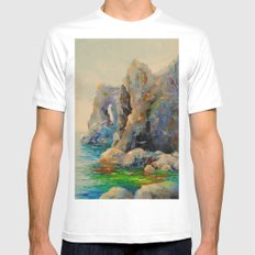 Rocks on the beach White Mens Fitted Tee MEDIUM