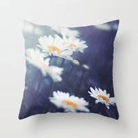 daisies Throw Pillows featuring Daisies by Kameron Elisabeth