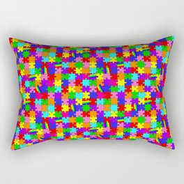 Autism Acceptance and Awareness Spectrum Rainbow Puzzle Pieces Rectangular Pillow