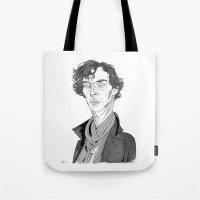 benedict cumberbatch Tote Bags featuring Benedict Cumberbatch - Sherlock by Andy Christofi