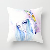 russian Throw Pillows featuring Russian winter by Cora-Tiana