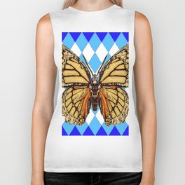 ABSTRACTED  BROWN SPICE  MONARCHS BUTTERFLY  &   BLUE-WHITE HARLEQUIN PATTERN Biker Tank