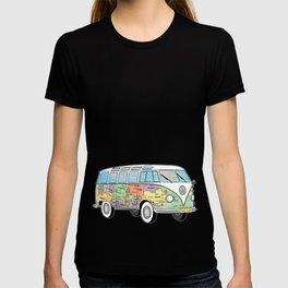 the travelling combi - vanlife map T-shirt