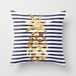 Pineapple & Stripes - Navy / White / Gold Throw Pillow