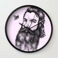 gandalf Wall Clocks featuring Yung Gandalf by Jessica Petrylak