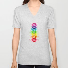 Seven Chakra Watercolor With Symbols - 01 Vertical Unisex V-Neck