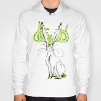 jackalope Hoodies featuring Jackalope - Chartreuse by Jen Overstreet