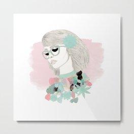 Floral Girl Metal Print