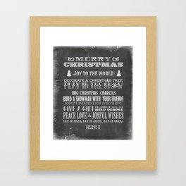 Christmas Chalk Board Typography Text Framed Art Print
