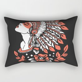 Indian cute lady, Hand drawn illustration of apache indian girl Rectangular Pillow