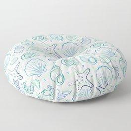 Sea shells illustration pattern. Blue with stripes. Summer ocean beach print. Floor Pillow