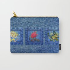 Denim Square Patches Carry-All Pouch