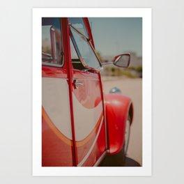 Red Classic Car #vintagecar #classiccar #boysroom #nurserydecor #reddecor Art Print