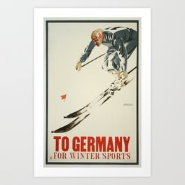 To Germany for Winter Sports - Vintage Skiing Travel Poster Art Print