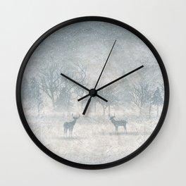 Winter scenery & deers Wall Clock