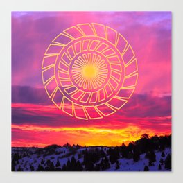 Pink Sunrise Golden Mandala Canvas Print