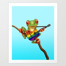 Tree Frog Playing Acoustic Guitar with Gay Pride Rainbow Flag Art Print