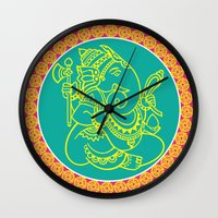 ganesh Wall Clocks featuring Ganesh by Chetna Shetty