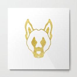 Gold head of dog Metal Print