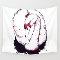 swan Wall Tapestries featuring Swan by Oxana Art