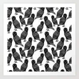 Linocut owl bird black and white minimal nursery pattern gifts birder Art Print