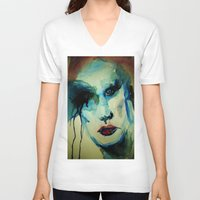 makeup V-neck T-shirts featuring Rock Star Makeup Malfunction by Michelle Silsbee