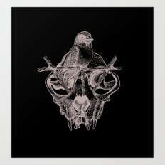 Mr. Sparrow and the cat's skull Art Print