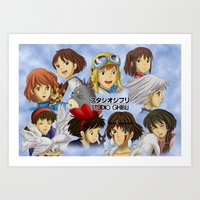 studio ghibli Art Prints featuring Studio Ghibli Girls by Art of Nym