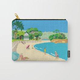 Modern Retro Art Print of Balmoral Beach, Sydney, Australia Carry-All Pouch
