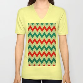 Red and Teal Chevron Unisex V-Neck