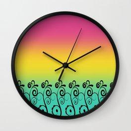 Ombre  Misty Rainbow Black Swirl Pattern - Pink, Yellow & Turquoise Wall Clock