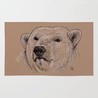 polar bear Area & Throw Rugs featuring Polar Bear by Ursula Rodgers