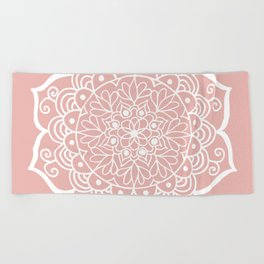 Pretty Mandala on Rose Gold Beach Towel