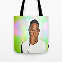 kendrick lamar Tote Bags featuring Kendrick Lamar by Enna