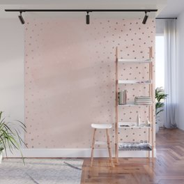 Rose Gold Pastel Pink Foil Paint Line Dots XXIII Wall Mural