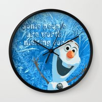 olaf Wall Clocks featuring OLAF by DisPrints