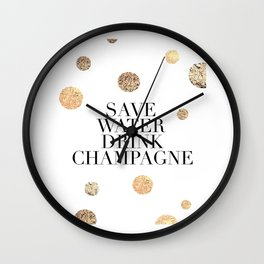 BUT FIRST CHAMPAGNE, Save Water Drink Champagne,Alcohol Sign,Drink Sign,Celebrate Life Quote,Bar Dec Wall Clock