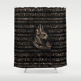 Bastet Egyptian Goddess -vintage gold on black Shower Curtain