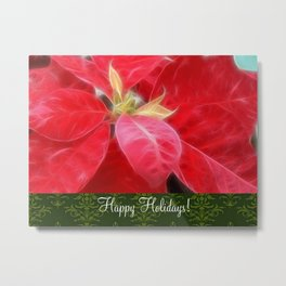Mottled Red Poinsettia 2 Happy Holidays S6F1 Metal Print