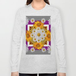 GREY & WHITE DAISIES FLORAL ABSTRACT & YELLOW SUNFLOWERS Long Sleeve T-shirt