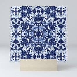 Boho Blue Medallion Mini Art Print
