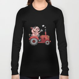 PIG ON A TRACTOR Piggy tractor Farmer Farm Cartoon Long Sleeve T-shirt