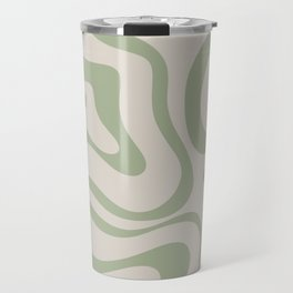 Liquid Swirl Abstract Pattern in Almond and Sage Green Travel Mug